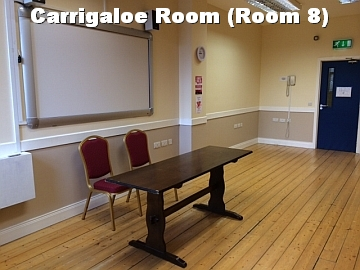 Carrigaloe Room with white text
